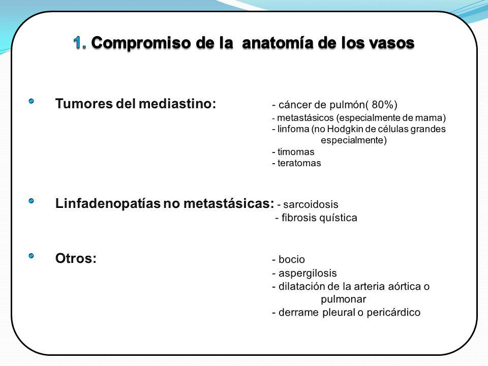 Compromiso de la anatomía de los vasos