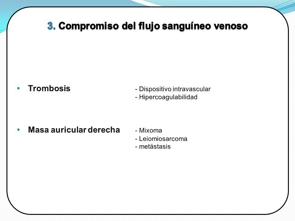 Compromiso del flujo sanguíneo venoso