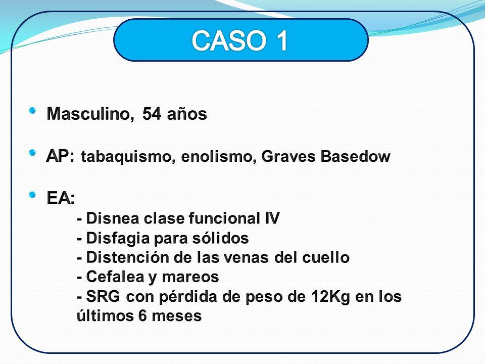 CASO 1 Masculino, 54 años AP: tabaquismo, enolismo, Graves Basedow EA: