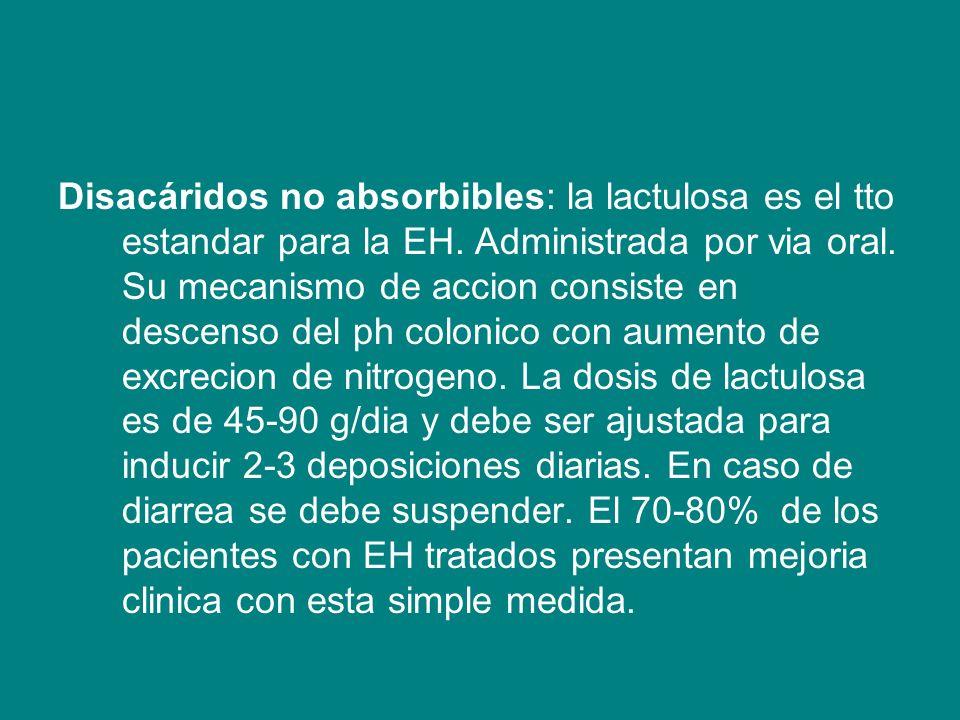 Disacáridos no absorbibles: la lactulosa es el tto estandar para la EH
