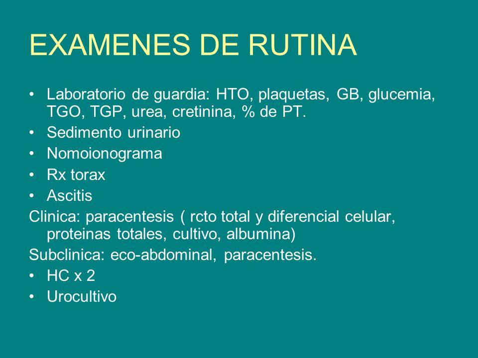 EXAMENES DE RUTINA Laboratorio de guardia: HTO, plaquetas, GB, glucemia, TGO, TGP, urea, cretinina, % de PT.