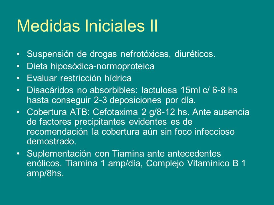 Medidas Iniciales II Suspensión de drogas nefrotóxicas, diuréticos.