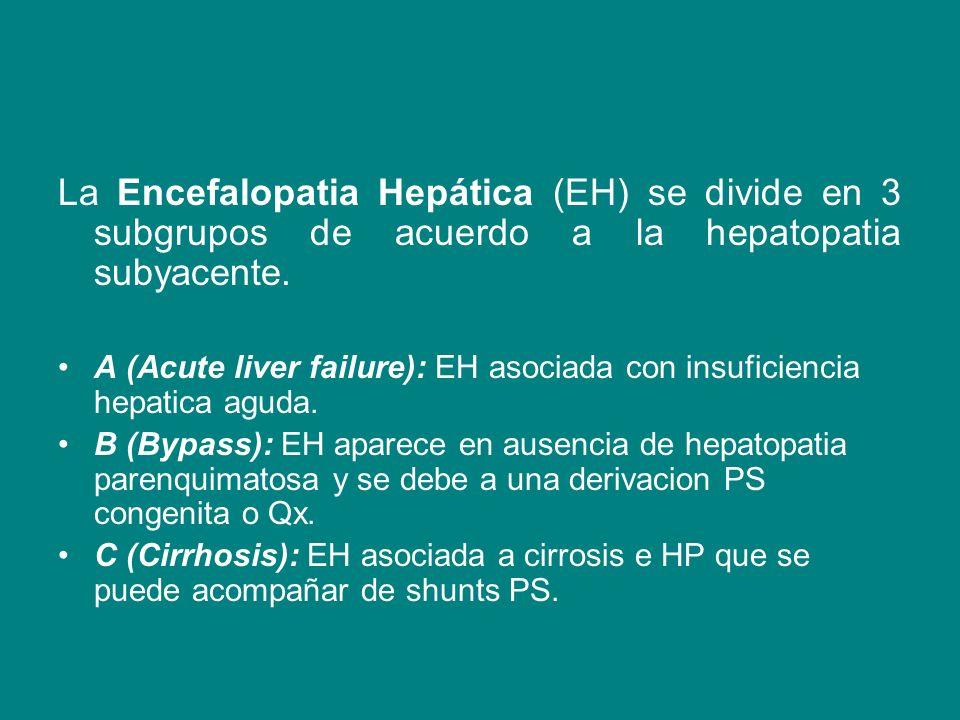 La Encefalopatia Hepática (EH) se divide en 3 subgrupos de acuerdo a la hepatopatia subyacente.