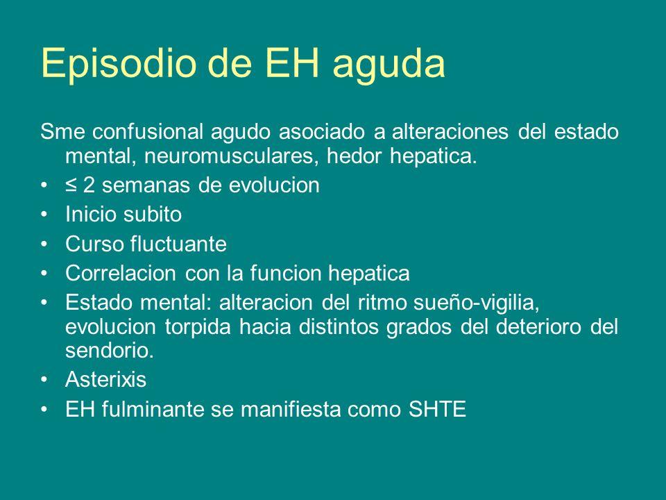 Episodio de EH aguda Sme confusional agudo asociado a alteraciones del estado mental, neuromusculares, hedor hepatica.