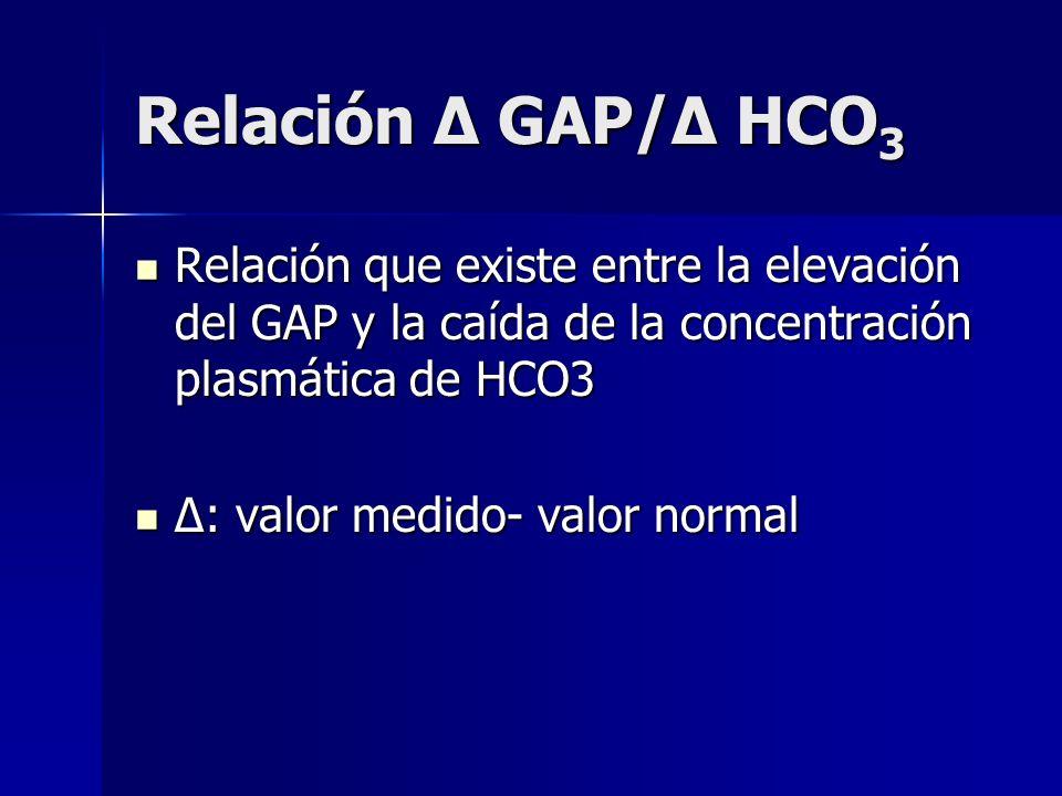 Relación Δ GAP/Δ HCO3 Relación que existe entre la elevación del GAP y la caída de la concentración plasmática de HCO3.
