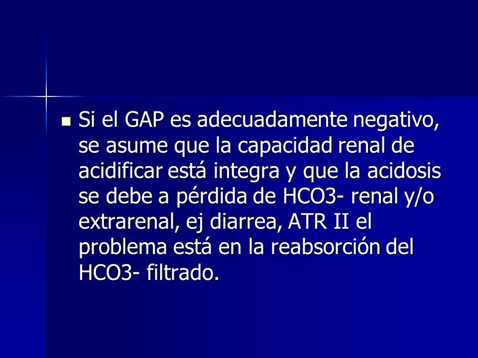 Si el GAP es adecuadamente negativo, se asume que la capacidad renal de acidificar está integra y que la acidosis se debe a pérdida de HCO3- renal y/o extrarenal, ej diarrea, ATR II el problema está en la reabsorción del HCO3- filtrado.