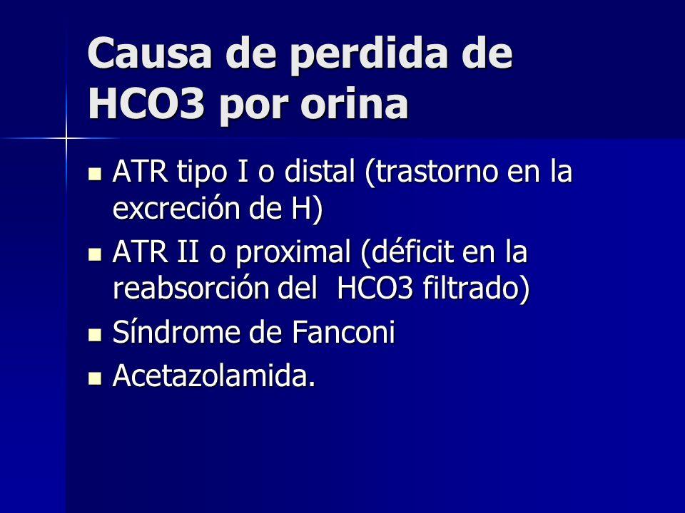 Causa de perdida de HCO3 por orina