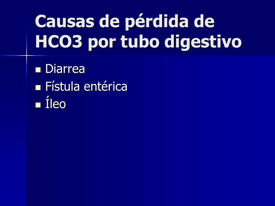 Causas de pérdida de HCO3 por tubo digestivo