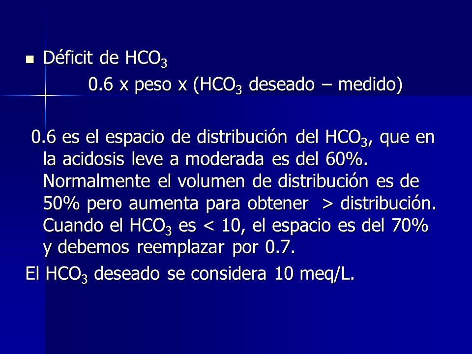 Déficit de HCO3 0.6 x peso x (HCO3 deseado – medido)