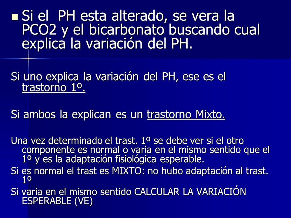 Si el PH esta alterado, se vera la PCO2 y el bicarbonato buscando cual explica la variación del PH.