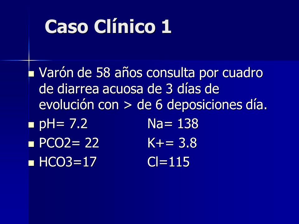 Caso Clínico 1 Varón de 58 años consulta por cuadro de diarrea acuosa de 3 días de evolución con > de 6 deposiciones día.