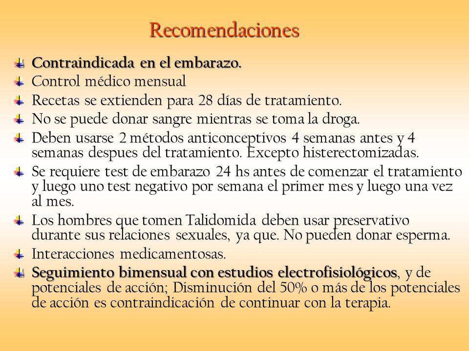 Recomendaciones Contraindicada en el embarazo. Control médico mensual