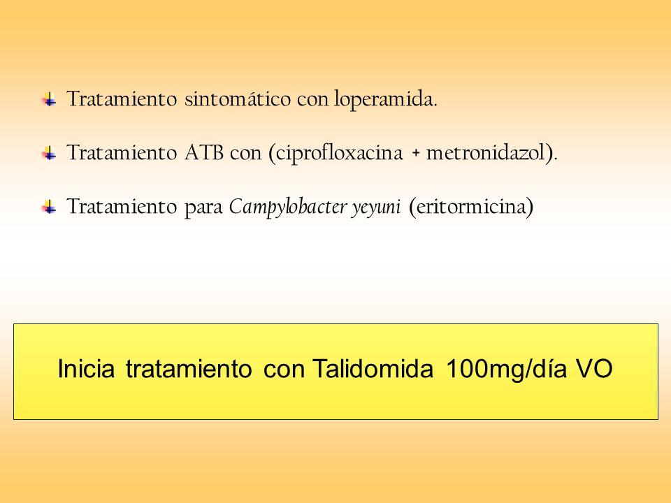 Inicia tratamiento con Talidomida 100mg/día VO