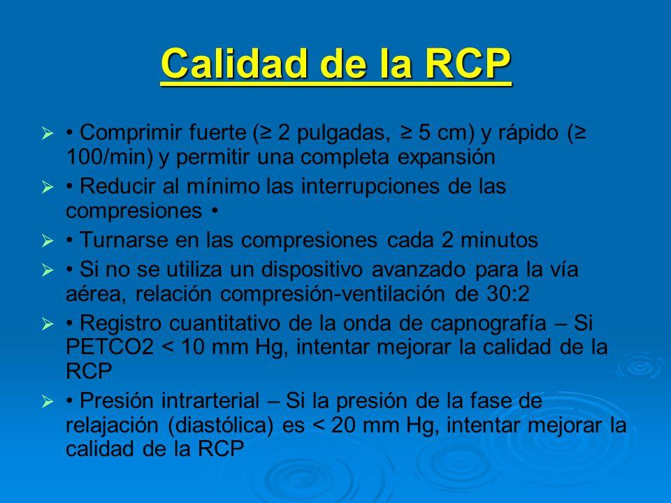 Calidad de la RCP • Comprimir fuerte (≥ 2 pulgadas, ≥ 5 cm) y rápido (≥ 100/min) y permitir una completa expansión.