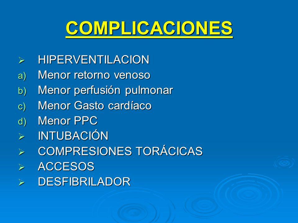 COMPLICACIONES HIPERVENTILACION Menor retorno venoso