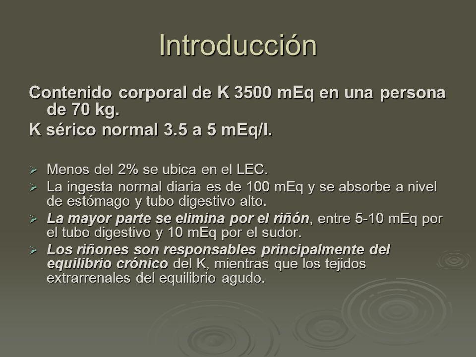 Introducción Contenido corporal de K 3500 mEq en una persona de 70 kg.