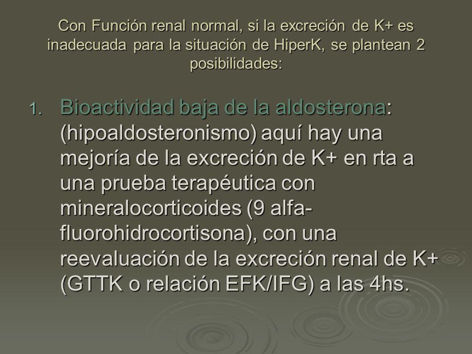 Con Función renal normal, si la excreción de K+ es inadecuada para la situación de HiperK, se plantean 2 posibilidades: