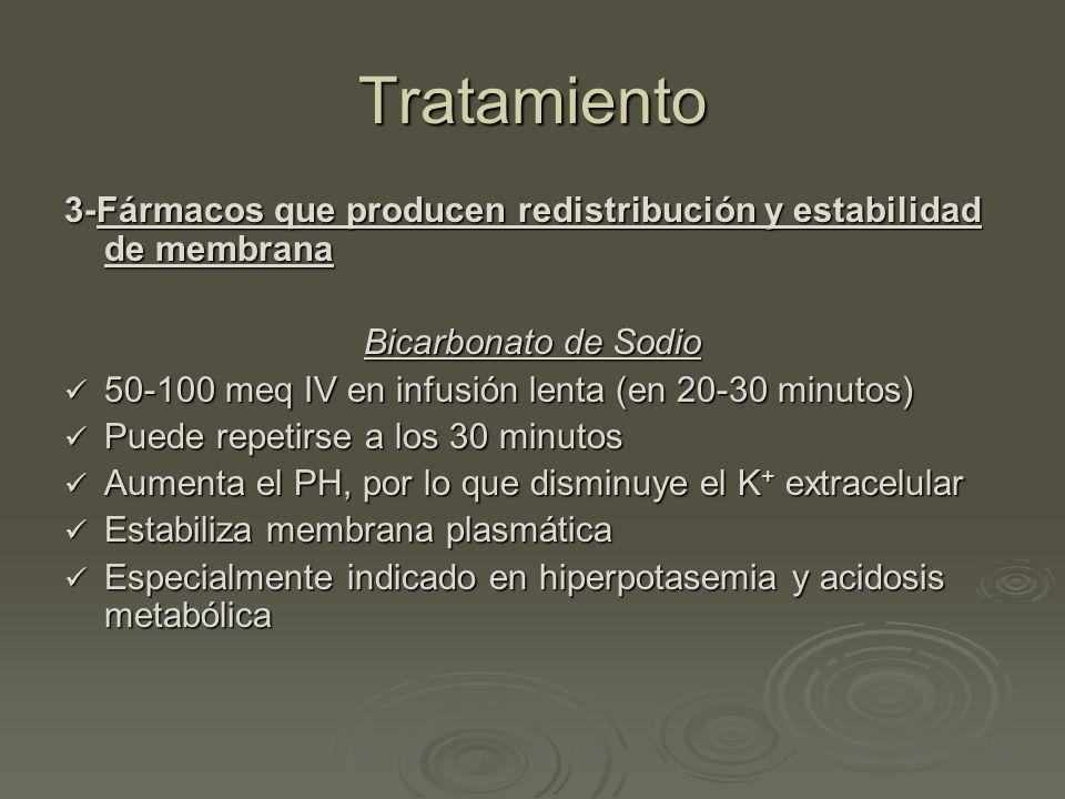 Tratamiento 3-Fármacos que producen redistribución y estabilidad de membrana. Bicarbonato de Sodio.