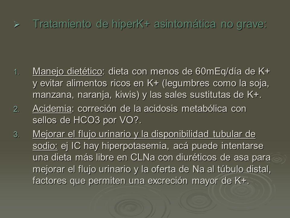Tratamiento de hiperK+ asintomática no grave: