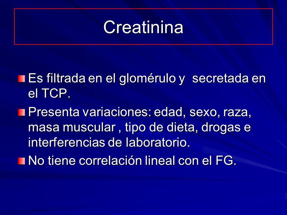 Creatinina Es filtrada en el glomérulo y secretada en el TCP.