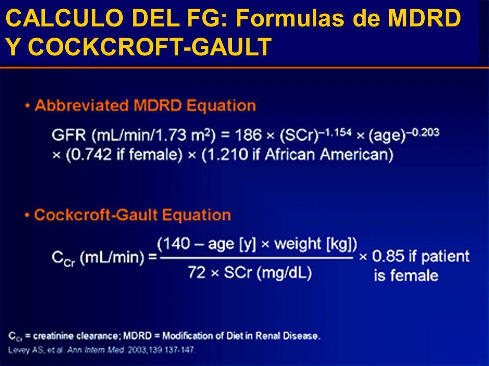 CALCULO DEL FG: Formulas de MDRD Y COCKCROFT-GAULT