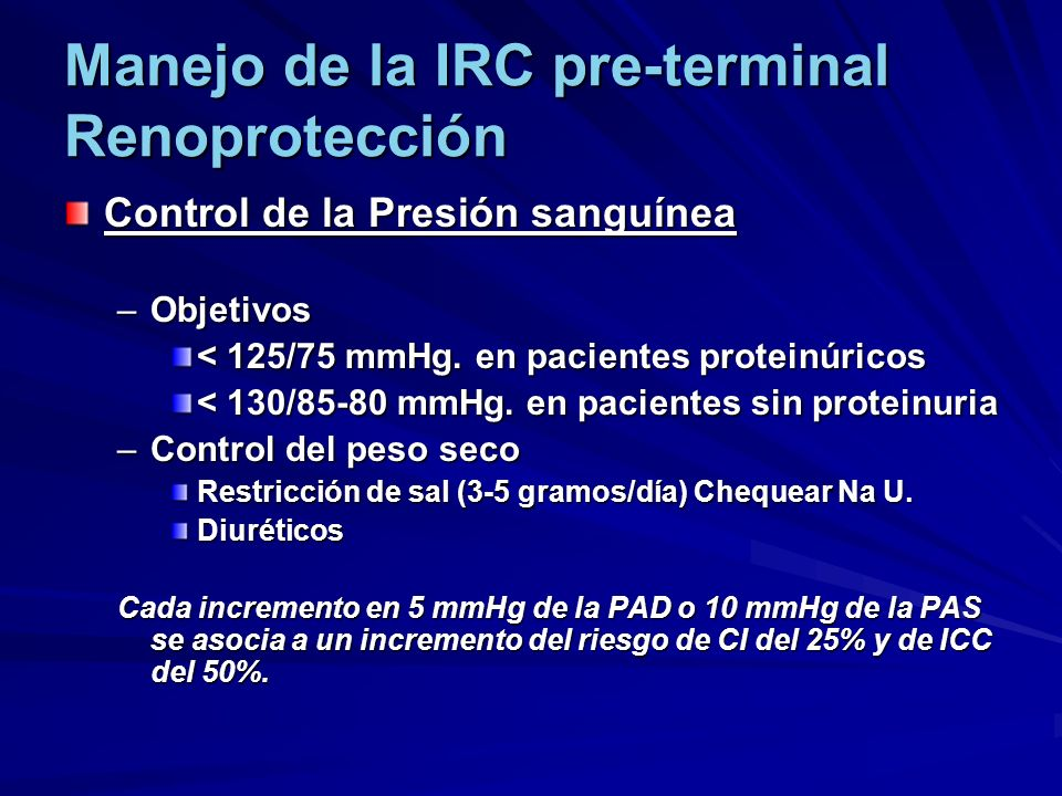 Manejo de la IRC pre-terminal Renoprotección