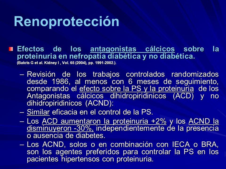 Renoprotección Efectos de los antagonistas cálcicos sobre la proteinuria en nefropatía diabética y no diabética.