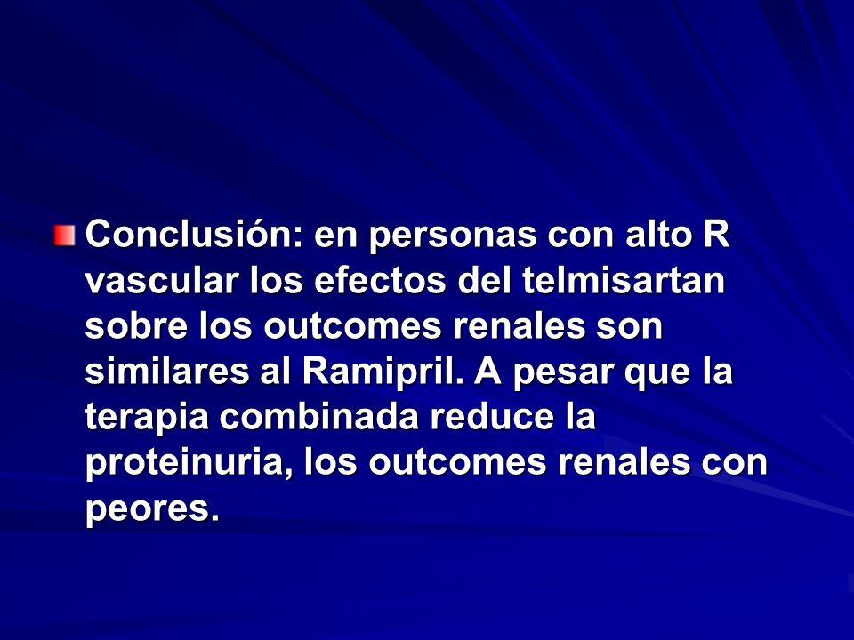 Conclusión: en personas con alto R vascular los efectos del telmisartan sobre los outcomes renales son similares al Ramipril.