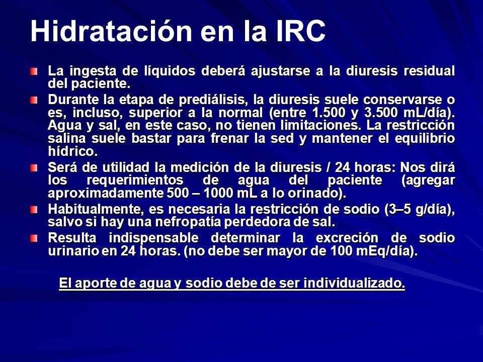 Hidratación en la IRC La ingesta de líquidos deberá ajustarse a la diuresis residual del paciente.