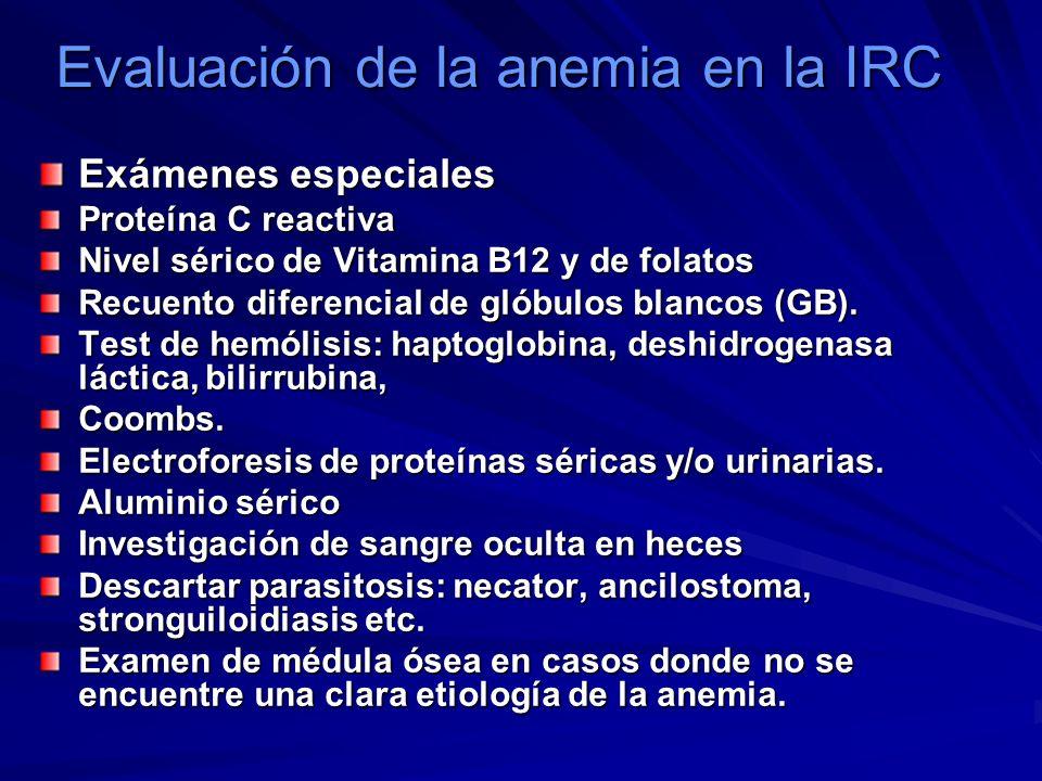 Evaluación de la anemia en la IRC