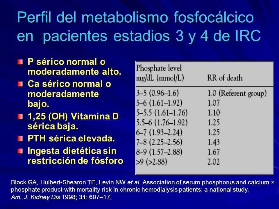 Perfil del metabolismo fosfocálcico en pacientes estadios 3 y 4 de IRC