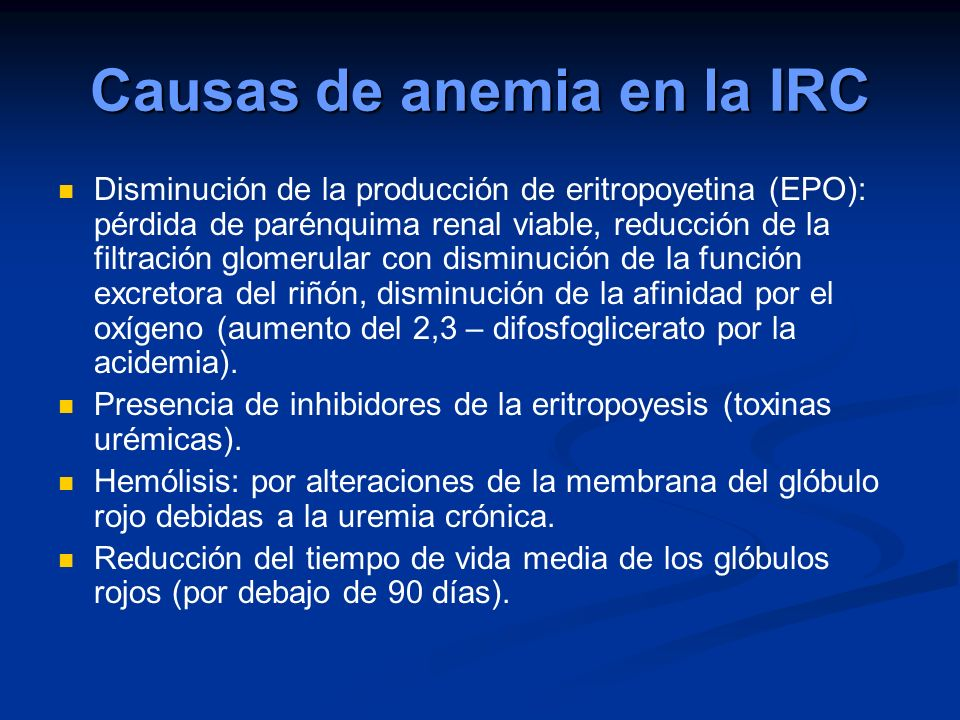 Causas de anemia en la IRC