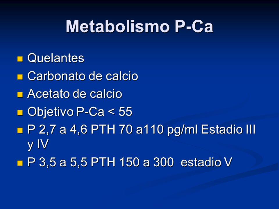 Metabolismo P-Ca Quelantes Carbonato de calcio Acetato de calcio