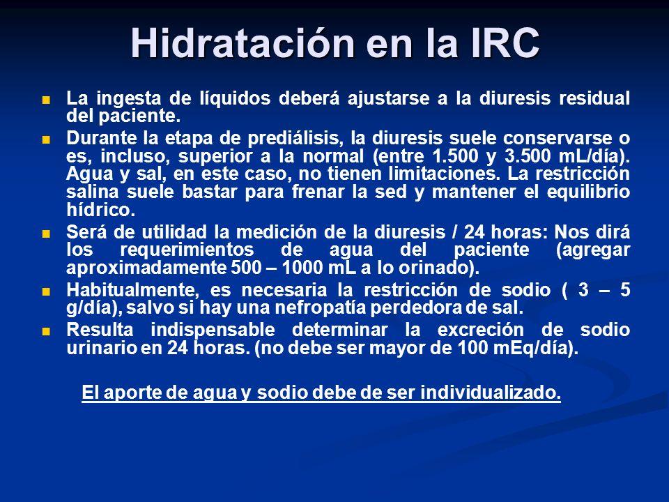 Hidratación en la IRCLa ingesta de líquidos deberá ajustarse a la diuresis residual del paciente.