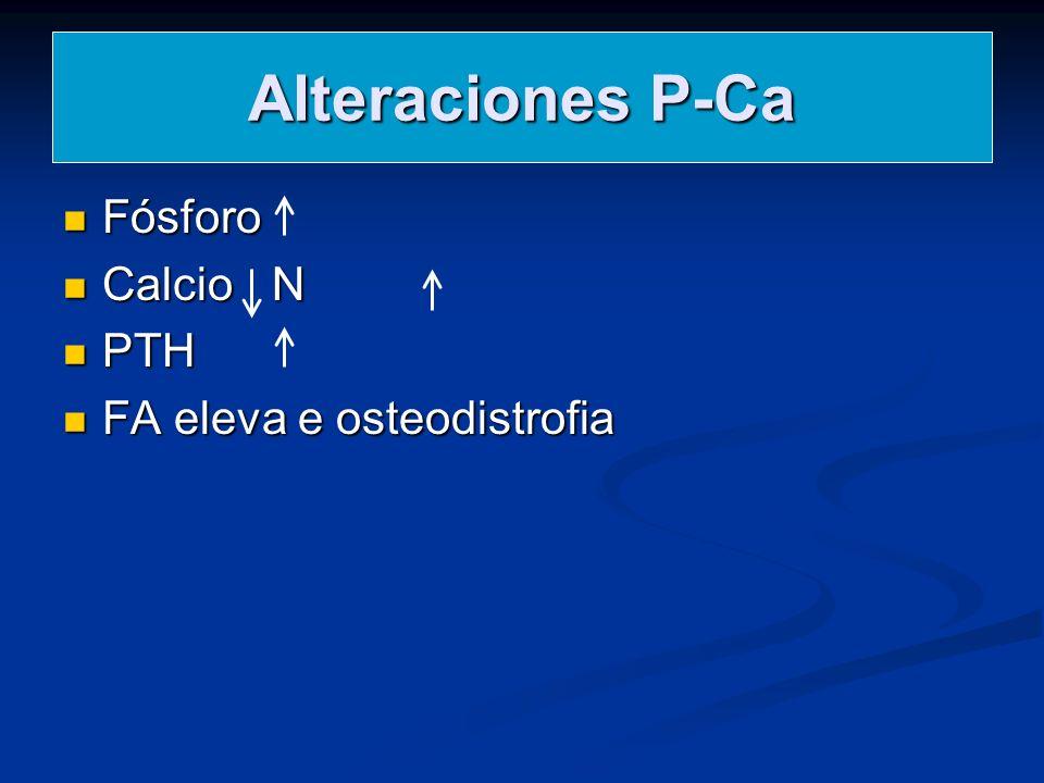 Alteraciones P-Ca Fósforo Calcio N PTH FA eleva e osteodistrofia