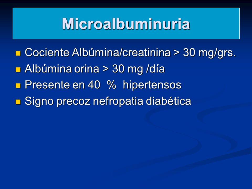 Microalbuminuria Cociente Albúmina/creatinina > 30 mg/grs.