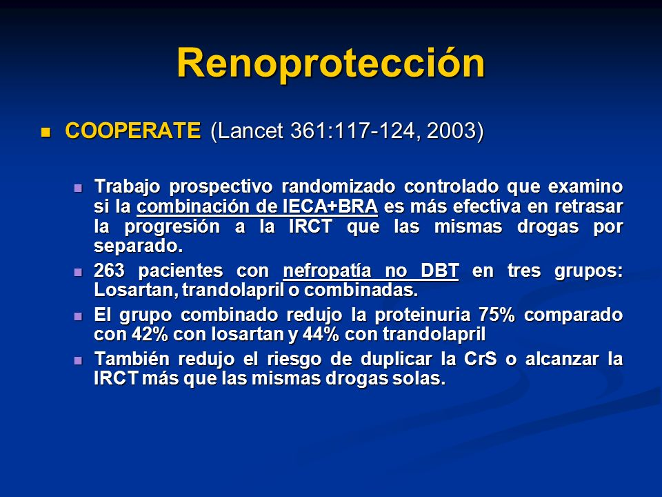 Renoprotección COOPERATE (Lancet 361:117-124, 2003)