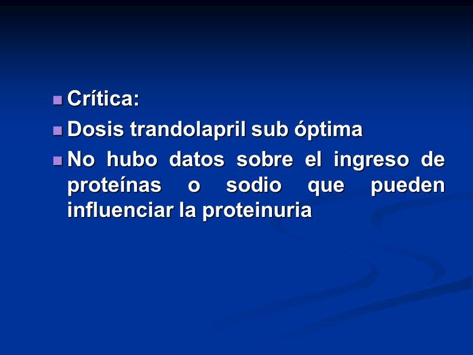 Crítica:Dosis trandolapril sub óptima.