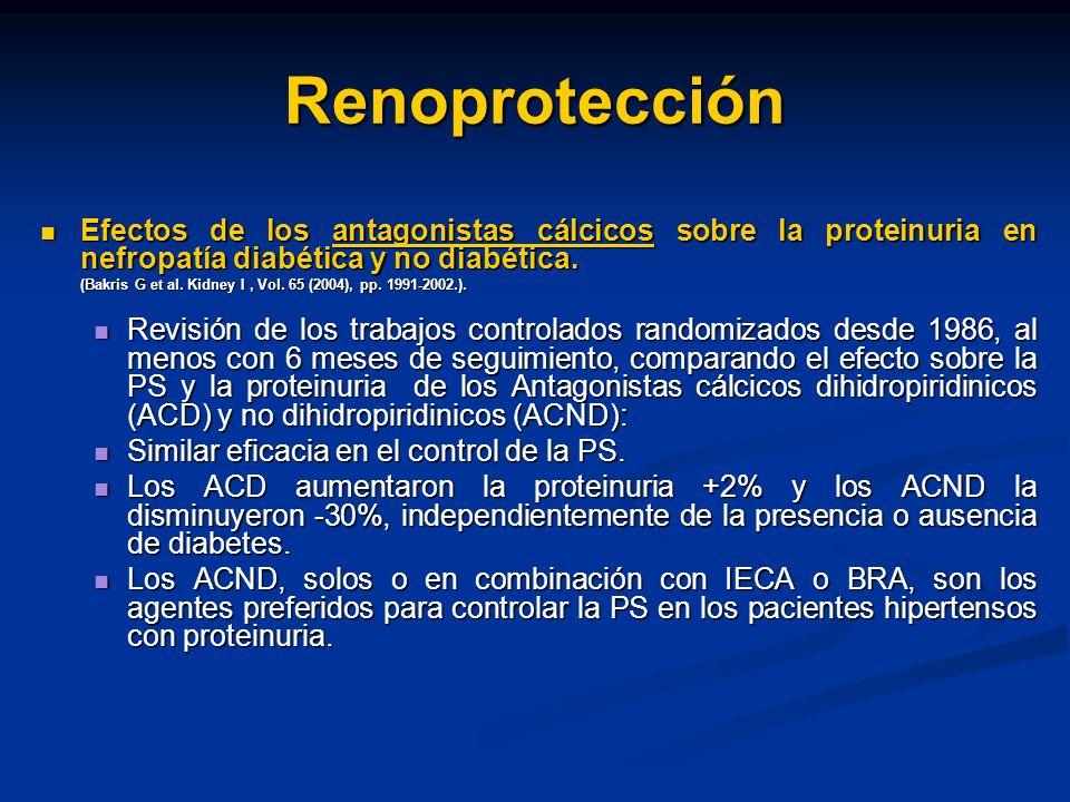 RenoprotecciónEfectos de los antagonistas cálcicos sobre la proteinuria en nefropatía diabética y no diabética.