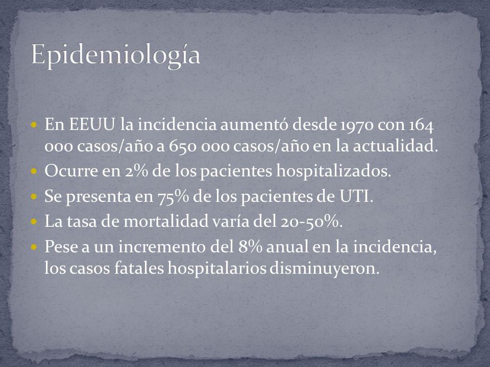 Epidemiología En EEUU la incidencia aumentó desde 1970 con 164 000 casos/año a 650 000 casos/año en la actualidad.