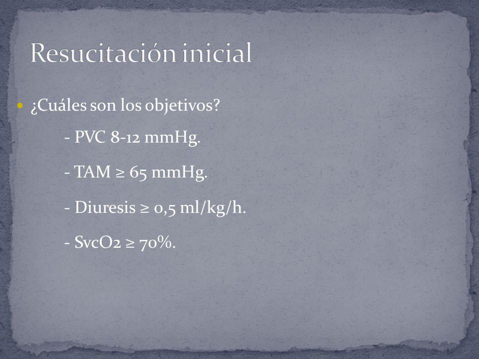 Resucitación inicial ¿Cuáles son los objetivos - PVC 8-12 mmHg.