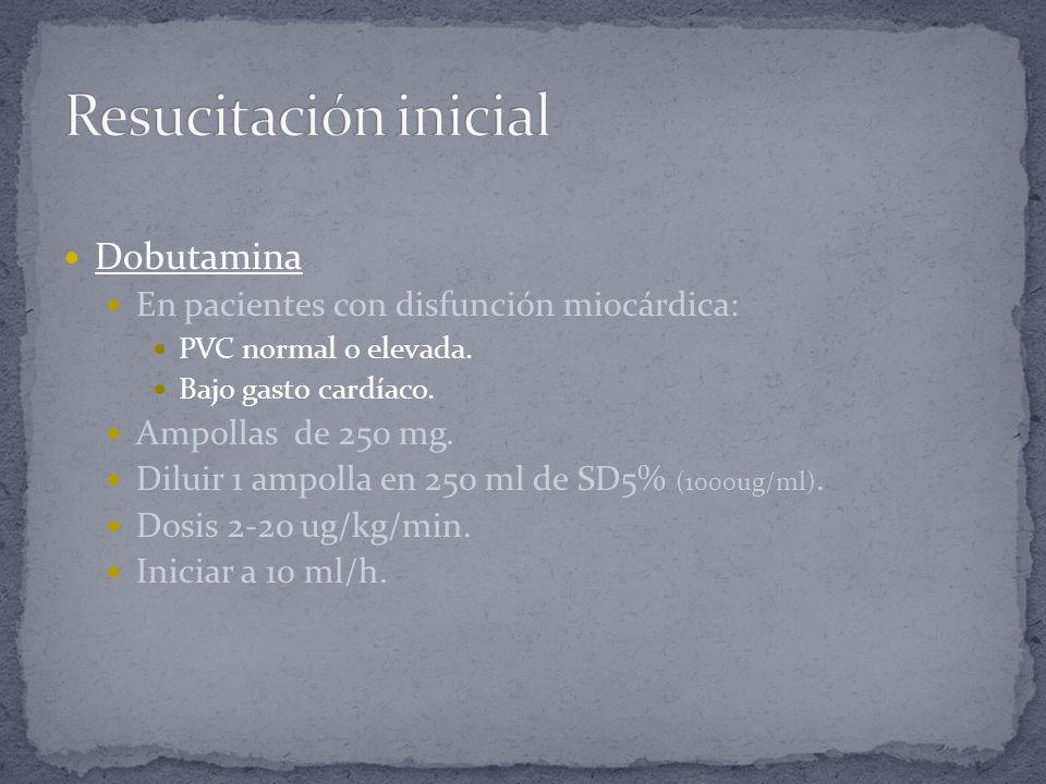 Resucitación inicial Dobutamina