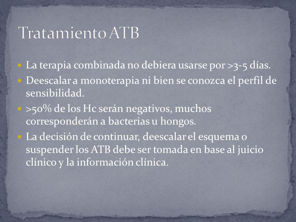 Tratamiento ATB La terapia combinada no debiera usarse por >3-5 días. Deescalar a monoterapia ni bien se conozca el perfil de sensibilidad.
