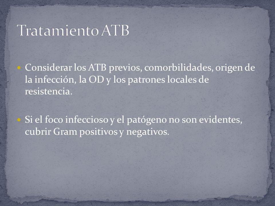 Tratamiento ATBConsiderar los ATB previos, comorbilidades, origen de la infección, la OD y los patrones locales de resistencia.