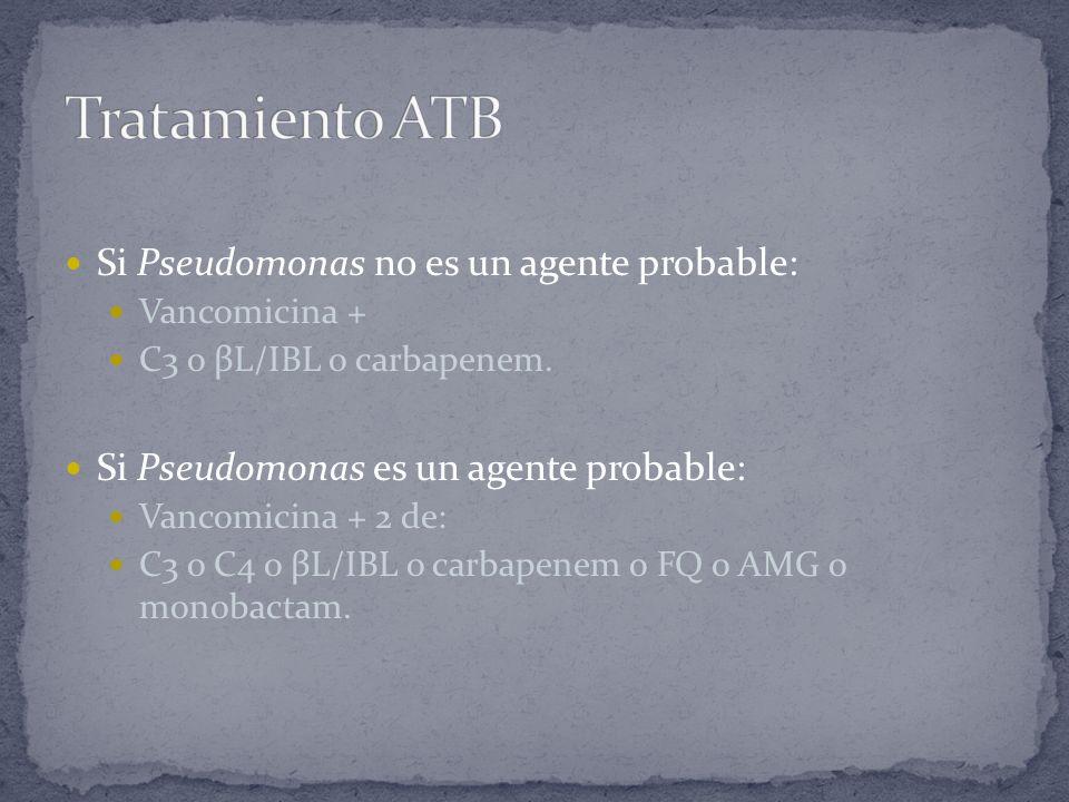 Tratamiento ATB Si Pseudomonas no es un agente probable: