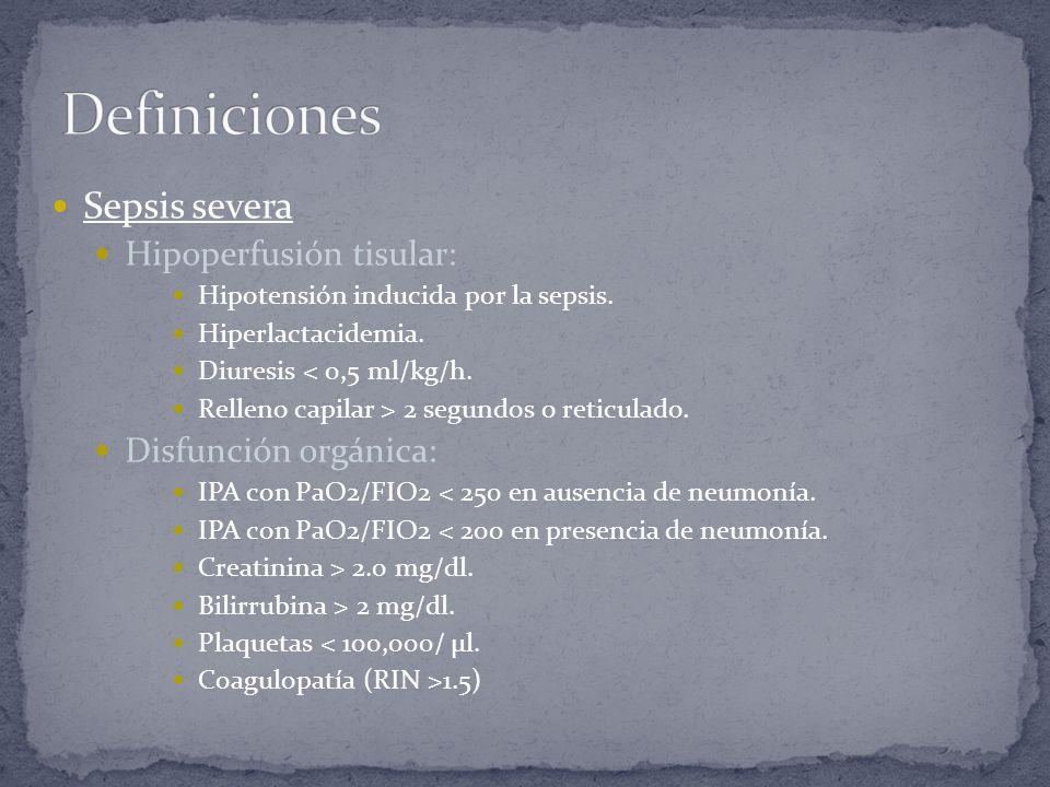 Definiciones Sepsis severa Hipoperfusión tisular: Disfunción orgánica:
