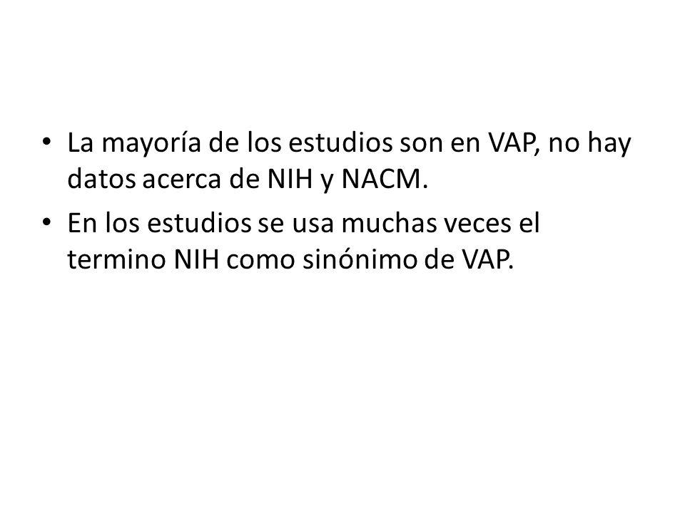 La mayoría de los estudios son en VAP, no hay datos acerca de NIH y NACM.