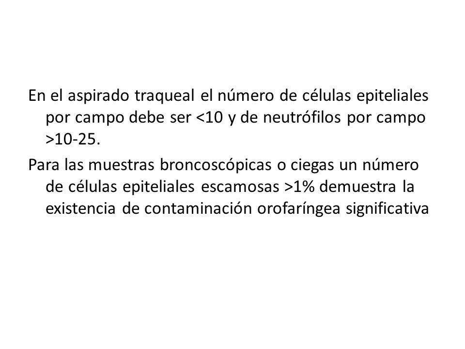 En el aspirado traqueal el número de células epiteliales por campo debe ser <10 y de neutrófilos por campo >10-25.