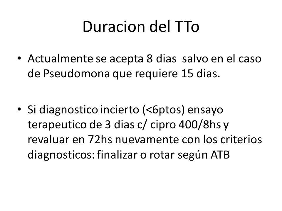 Duracion del TTo Actualmente se acepta 8 dias salvo en el caso de Pseudomona que requiere 15 dias.