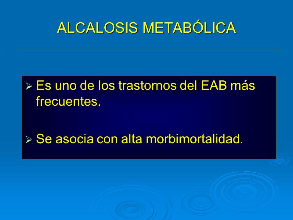 ALCALOSIS METABÓLICA Es uno de los trastornos del EAB más frecuentes.